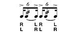 rullo a sei-six stroke roll