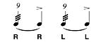 Rullo a nove-nine stroke roll